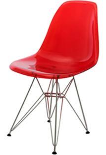 Cadeira Eames Policarbonato Vermelho Base Cromada - 17383