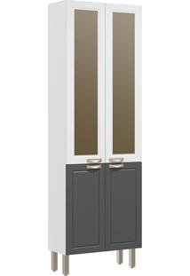 Paneleiro 4 Portas Com Vidro Reflecta Nevada 5627Vd-Multimóveis - Branco Premium / Grafite Premium / Branco Premium