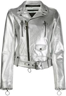 Off-White Leather Biker Jacket - Prateado