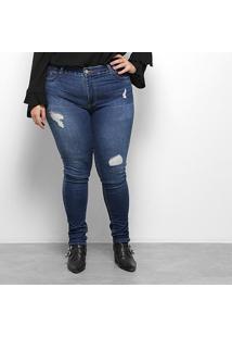 Calça Jeans Sawary Plus Size Cigarrete Feminina - Feminino-Azul