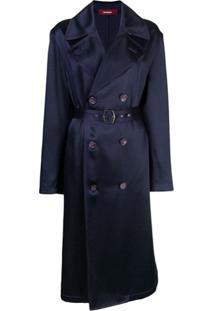 Sies Marjan Trench Coat Sigourney Com Abotoamento Duplo - Azul