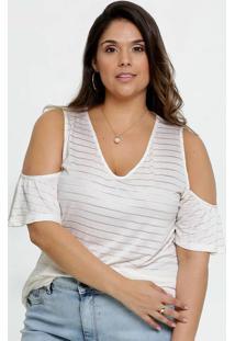 Blusa Feminina Open Shoulder Listrada Plus Size Manga Curta