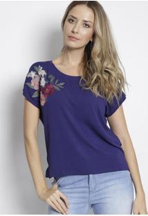 Blusa Com Bordado Floral - Azul Marinho & Rosa Clarodudalina