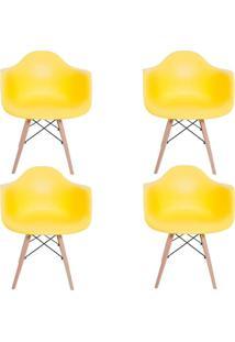 Kit 4 Cadeiras Facthus Charles Melbourne Com Base De Madeira Amarelo