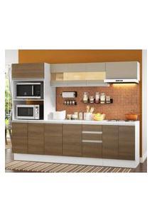 Cozinha Completa 100% Mdf Madesa Smart 250 Cm Modulada Com Balcão E Tampo Branco/Rustic/Crema Branco/Rustic/Crema