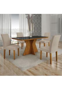 Conjunto De Mesa De Jantar Creta Com 4 Cadeiras Olímpia Veludo Preto E Palha