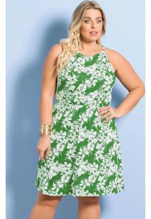 Vestido De Alças Plus Size Floral Verde