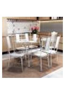Conjunto Mesa Loire De Vidro E 6 Cadeiras Lisboa Kappesberg Cromado/Branco