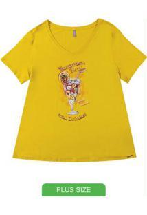 Blusa Em Viscose Com Estampa Amarelo