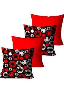 Kit Com 4 Capas Pump Up Para Almofadas Decorativas Vermelho Círculos 45X45Cm