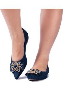 Sapatilha Anyp Shoes Confort Bico Alongado Jeans Com Pedra Em Flor Azul