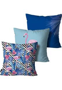Kit Com 3 Capas Almofadas Mdecore Flamingos 55X55Cm Azul