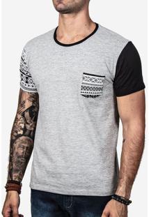 Camiseta Manga Etnica E Preta 100267