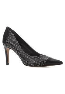 Scarpin Couro Shoestock Salto Alto Bordado Xadrez