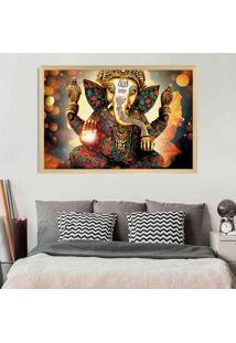 Quadro Love Decor Com Moldura Lord Ganesha Madeira Clara Médio