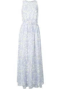 Emporio Armani Vestido Longo Com Estampa - Azul