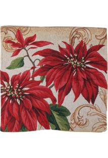 Capa Almofada Flor/Arabesco Decoração Natal 45X45Cm Vermelha