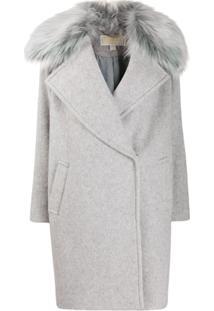 Michael Michael Kors Fur Trim Oversized Coat - Cinza