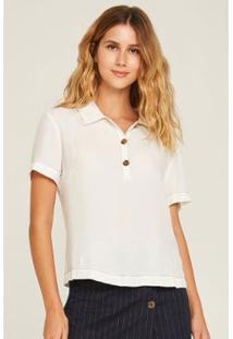 Blusa Polo Pesponto Contraste Feminina - Feminino-Off White
