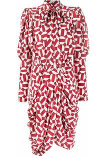 Isabel Marant Vestido Franzido Com Laço Na Gola E Estampa Geométrica - Vermelho