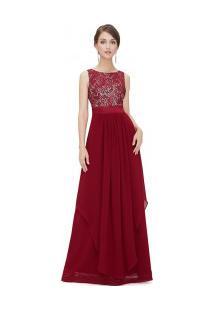 Vestido Longo De Festa Com Detalhes Rendados E Decote Em V Nas Costas - Vermelho