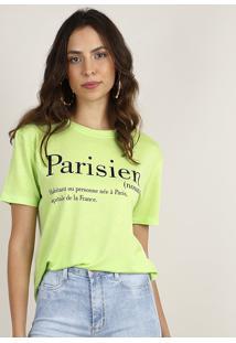 "Blusa Feminina ""Parisien"" Manga Curta Decote Redondo Verde Claro"