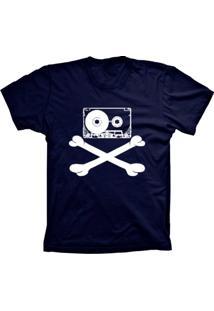 Camiseta Lu Geek Manga Curta Fita Caveira Azul Marinho