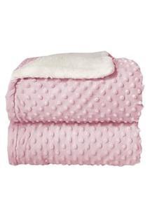 Cobertor Sherpa Relevo Dupla Face Bebê Rosa Claro