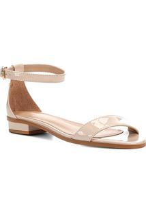 Sandália Shoestock Flat Tira Naked Feminina - Feminino-Macadamia
