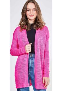 Cardigan Alongado Pink Em Tricô