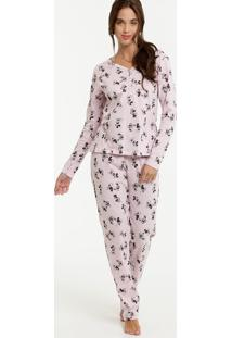 Pijama Feminino Mickey E Minnie Manga Longa Disney