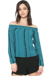 Blusa Cativa Ombro A Ombro Listrada Verde/Preta