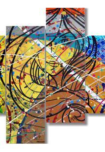 Quadro Painel Decorativo De Signo Virgem Abstrato 4 Peças