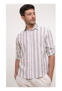 Camisa Slim Com Linho Listrada