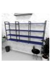 Estante Industrial Escritório Aço Cor Preto 180X30X98Cm (C)X(L)X(A) Cor Mdf Azul Modelo Ind58Azes