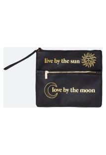 Necessaire Envelope Com 2 Zípers Estamps Lua E Sol   Accessories   Preto   U