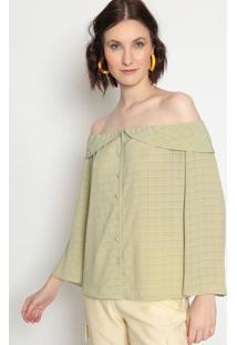 Blusa Ciganinha Com Babado- Verde Clarola Chocolãª