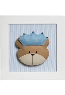 Quadro Decorativo Cara Do Urso Príncipe Quarto Bebê Infantil Menino Potinho De Mel Azul