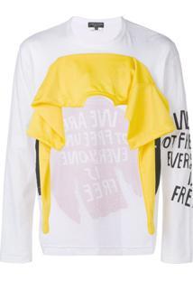 Comme Des Garçons Homme Plus Moletom + Camiseta Cropped Na Frente - Branco