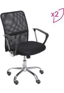 Or Design Jogo De Cadeiras Office Smart Preto & Prateado 2Pã§S