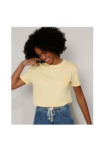 "Camiseta Feminina Bloom"" Com Relevo Manga Curta Decote Redondo Amarela Claro"""