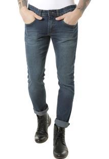 Calça Jeans Slim Em Algodão + Sustentável Azul Médio