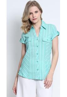 Camisa Listrada Com Bolso- Verde Claro- Intensintens