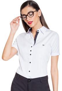 Camisa Principessa Crislaine Branca Com Detalhe Estampado