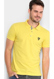 Camisa Polo Opera Rock Piquet Logo Bordado Masculina - Masculino-Amarelo