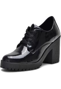 Sapato Oxford Iza Tonelli Em Verniz Preto Solado Tratorado