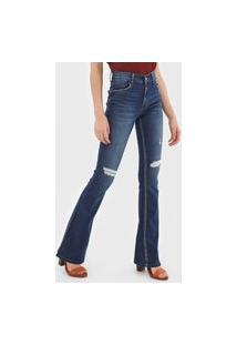 Calça Jeans Lez A Lez Flare Destroyed Azul