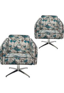 Kit 02 Poltronas Decorativas Com Base Evo Lymdecor Kim B-448 Algodão Multicolorido