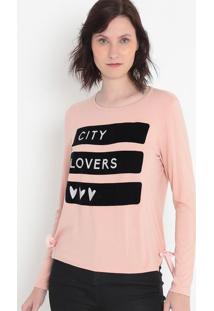 "Blusa ""City Lovers""- Rosa Claro & Preta- Malweemalwee"