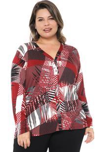 Camisa Rovitex Plus Estampada Vermelha/Cinza